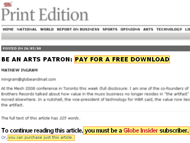 Paying to read about paying for a free download